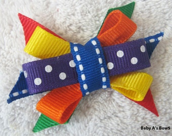 Rainbow Back to School Itty Bitty Bow - Preschool, Kindergarten,1st Grade, School Bow, Back to School, Primary Colors, Hungry Caterpillar