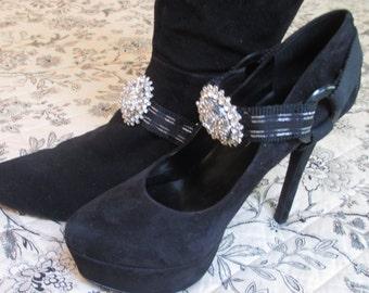 Bootstraps Shoe Jewelry Black Silver Lame Rhinestone Interchangeable