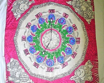 Novelty Vintage Silk Scarf with Colorful Clock Face