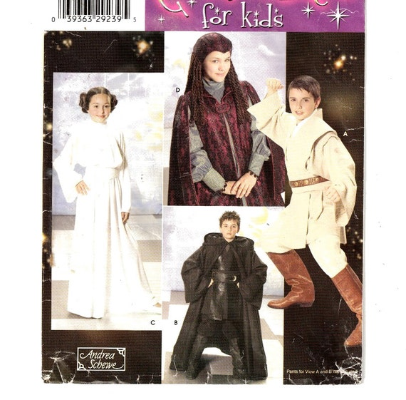 "Simplicity 4426/ 0578 Child's Star Wars Costumes Jedi, Princess Leia, Padme, Anakin and Obi-Wan Sz 7-14 Chest 26"" to 32"" - 6"