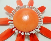 Vintage Brooch / Pin Orange Enamel Flower Power White Retro Art Deco Hippie Floral 1960s Mad Men Large Chunky