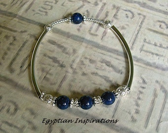Lapis bracelet. Egyptian style lapis bangle bracelet. Lapis jewelry.