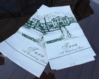 Sale 2  kitchen  towels .Green print on white canvas background. Tara , A Country Inn. Collectible towel. New old stock