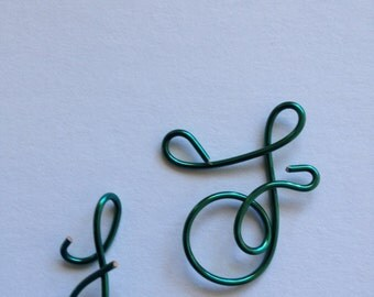 Made to order, Letter F, capital F, green wire, personalized Whimsical wire, Lilyb444, Christmas ornament,