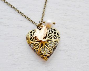 Rose Gold Bird Locket, Gold Bird, Brass Locket, Picture Locket, Bird Locket Pendant, Bridesmaid Gift, Heart Locket Jewelry, Heart Locket