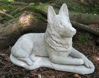 German Shepherd Dog, Concrete Dog Statue, Cement Statue, Canine Police Dogs, Shepherd Statue, Pet Memorial, Garden Statue, Memorial For Dog