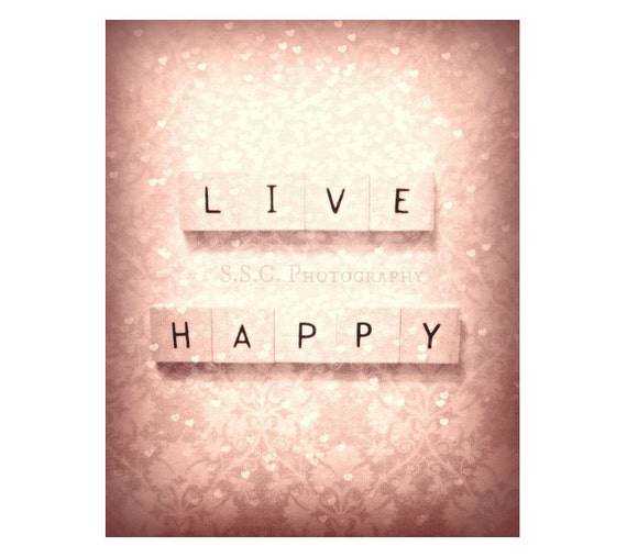 """Pink art print. Quote Photo """"Live Happy"""" Girly. Sweet. gift. hearts. floral pattern. love. valentine's day. pink home decor. chic. vintage."""