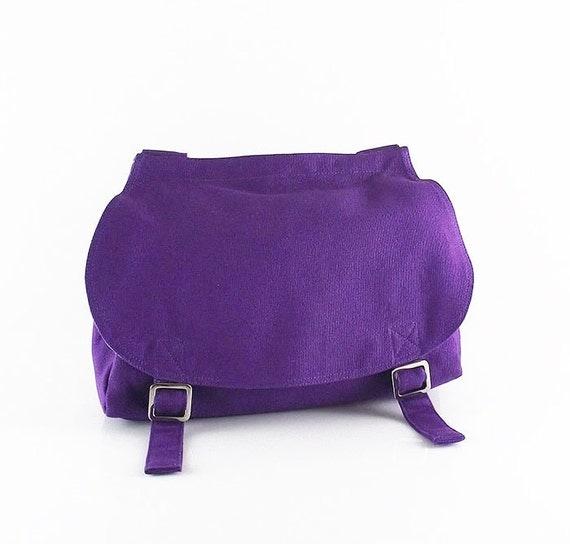 Deep purple canvas messenger bag / shoulder bag / purse / Fleur