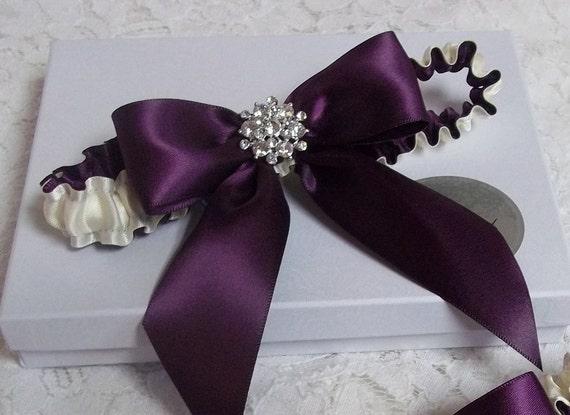 Wedding Garter Set Purple Bows Wedding Garter Set Eggplant
