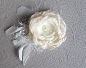 Bridal hair flower . Fabric flower hair clip . Feathers, Russian netting, and glass or fresh water pearls