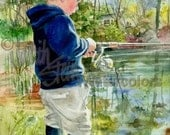 """Boy Fishing, Bait, Angler, Fish Pole, Tackle, Lake, Family Vacation, Children Watercolor Painting Print, Wall Art, Home Decor, """"Fisher Boy"""""""