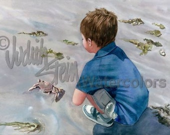 "Boy Hunting Crab, Seashells, Blue, Beige, Beach Comber Children Seascape, Watercolor Painting Print, Wall Art, Home Decor, ""Crabby Appleton"""