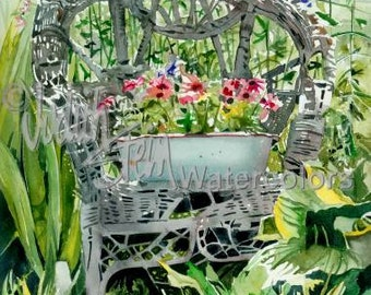 """Pink & Violet Flowers in Enamel Wash Pan on Vintage Wicker Chair, Garden Watercolor Painting Print, Wall Art, Home Decor, """"The Chair Rests"""""""