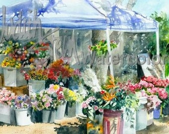 """Market in Ojai California, Yellow Sun Flowers, Pink & Red Roses, Carnations, Watercolor Painting Print, Wall Art, Home Decor, """"To Market"""""""