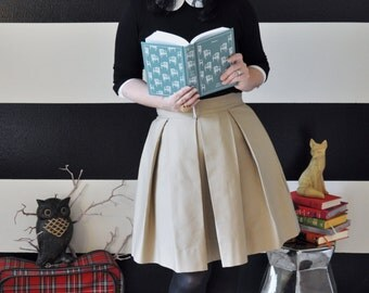 Camel Pleated Skirt with full, classic, preppy, retro and vintage style custom made to order also in plus size