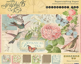 "Graphic 45  Botanical Tea 8"" x 8"" Paper Pad - RETIRED!"