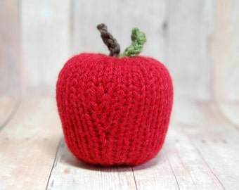 Apple, Red Knit Apple, Toy, Decor Item, Nature Table, Autumn Display, Teacher Gift, Play Kitchen, Natural Fibers, Waldorf