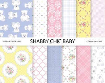 Baby Shabby Chic Digital paper pack, Baby Digital Papers, Baby Girl, Baby Boy, blue, pink, yellow,  INSTANT DOWNLOAD - 631