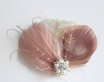Wedding Bridal Ivory Dusty Antique French Pink Peacock Feather Pearl Rhinestone Jewel Head Piece Hair Clip Fascinator