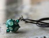 lampwork bead pendant - jade green layered dots