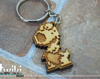Mario Bros 8bit Birdo wood keyring OR charm accessory
