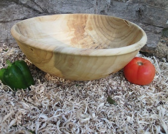 "Extra Large Poplar Wood Bowl with Textured Rim 16"" diameter  Bowl Dough Bowl Fruit Bowl"