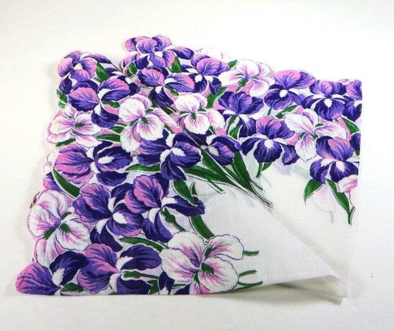 Vintage Purple Iris Hanky 1950s Cotton Floral Hankerchief