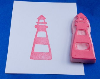 Lighthouse Stamp, Nautical Lighthouse Hand Carved Rubber Stamp, Ship Stamp