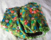 SassyCloth one size pocket diaper with woodland fox and owl on green cotton. Ready to ship.