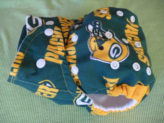 SassyCloth one size pocket diaper with Green Bay Packers on green cotton print. Made to order.