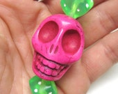 Big Daddy Pink Skull Dice Green White Keychain Sugar Skull Key Ring Pendant