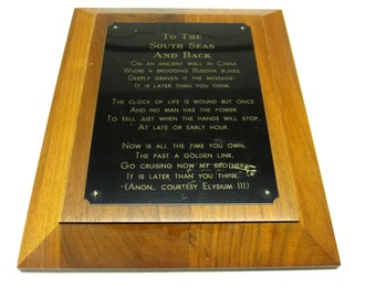Wooden Plaque Poem To The South Seas And Back Wall Hanging Elysium Clock Of Life