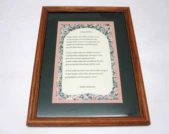 Mean Mother Wall Hanging Matted And Framed Poem