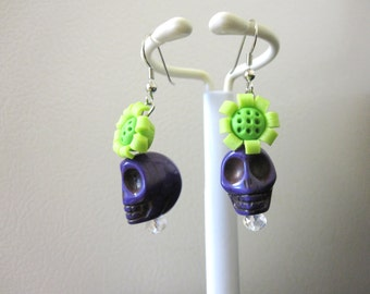 Sugar Skull Earrings Purple Green Flower