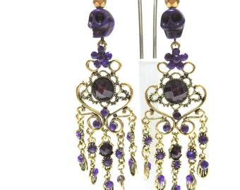 Day Of The Dead Earrings Sugar Skull Chandelier Dangles Purple