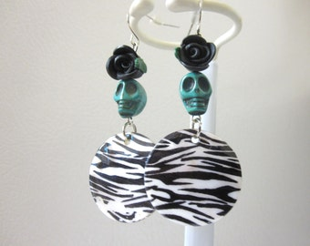 Day Of The Dead Earrings Sugar Skull Dangle Teal Blue Black White Zebra Flower Shell