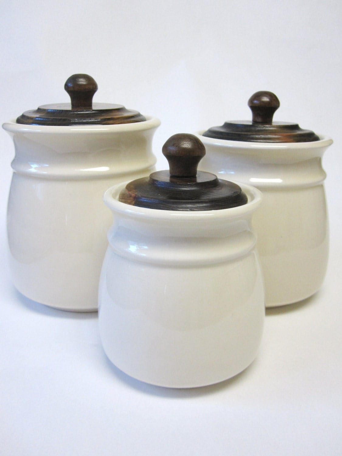 Ivory Canisters Set Of Three Wooden Lids