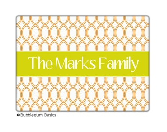 Custom personalized Monogrammed GLASS CUTTING BOARD Reverse Oval Circle Trellis Design Pattern - Any Color - Kitchen Home