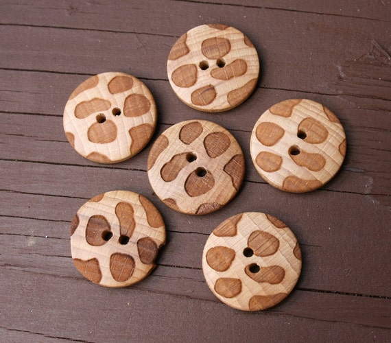 6 vintage wooden buttons with an embossed leopard style print