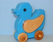 Wooden Easter Blue DUCKY on the Go - a great baby gift idea