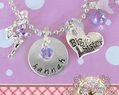 Big Sister HAND STAMPED CHARM Necklace, Personalized Name,Purple Fairy Jewelry, Metal Stamped, Charm Necklace, Big Sister Gift, New sister