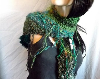 Emerald 'AnythingGoes' Scarflette – Soft Handknit Scarf - 48 Inches long