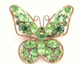 Vintage DeLizza and Elster Juliana Butterfly Pin Brooch Green Rhinestone