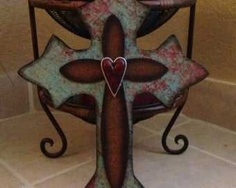 Turquoise Wood Wall Cross Medium
