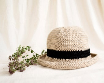 Beige Crochet Wide Brim Sun Hat with Black Hatband, Pure Cotton, Natural Materials, Country Chic Accessories