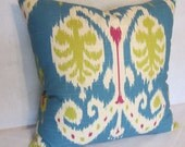 Caftan Ikat Peacock Blue Pillow Cover in Home Accents Fabric