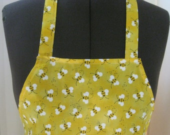 Bumble Bees  Yellow Apron For  Women (Lined In Yellow Fabric)