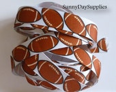 """Football Ribbon, Grosgrain Sports Ribbon, School, Sports and Crafts, Made in USA, """"3 YARDS"""",   7/8 in wide,  Football Grosgrain Ribbon"""