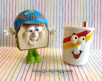 2 Cute McDonalds Vintage Happy Meal Toys - Sandwich and Soft Drink on Wheels ~Changeables , 1980's ~ Food Toys