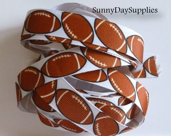 "Football Ribbon, Grosgrain Sports Ribbon, School, Sports and Crafts, Made in USA, ""3 YARDS"",   7/8 in wide,  Football Grosgrain Ribbon"